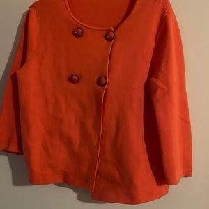 J Crew orange Candace double breasted sweater L